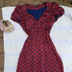 Y2K Vtg Betsey Johnson Vibrant Print Silk Dress